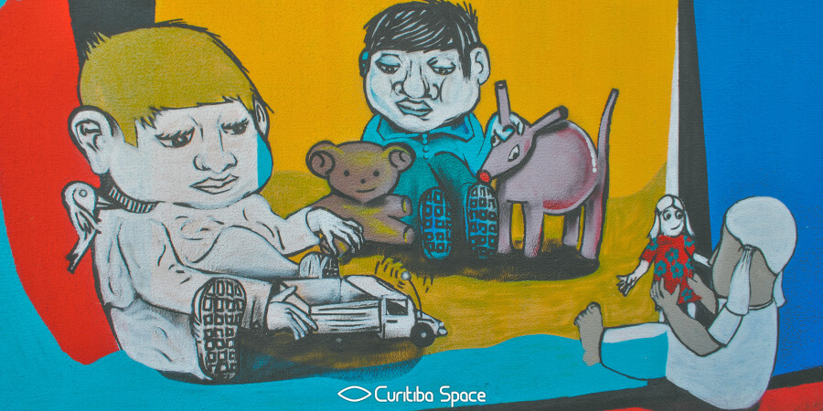 Arte no muro do Hospital Pequeno Príncipe - Arte Urbana em Curitiba - Curitiba Space