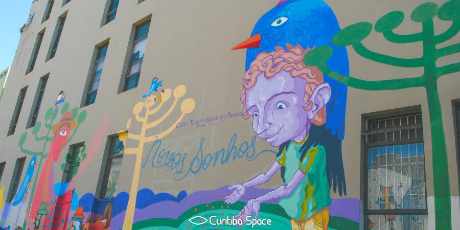 Grafite na Tv. Nestor de Castro - Café, Tom, Robolito e Auma - Arte Urbana em Curitiba - Curitiba Space